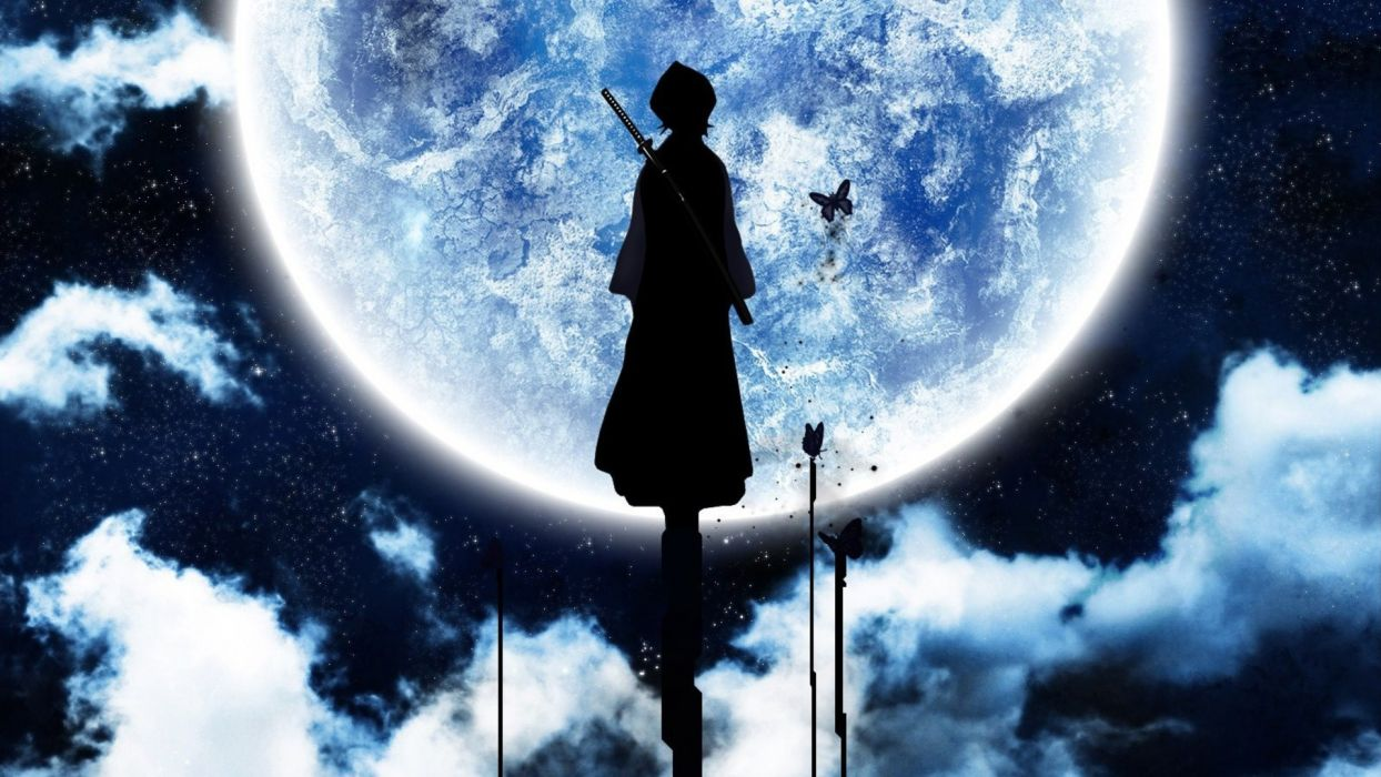 Bleach Moon silhouettes Kuchiki Rukia wallpaper