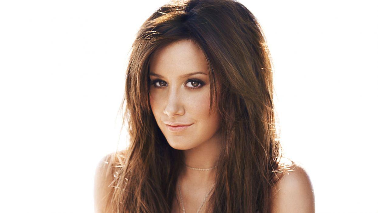 brunettes women actress celebrity Ashley Tisdale singers white background wallpaper