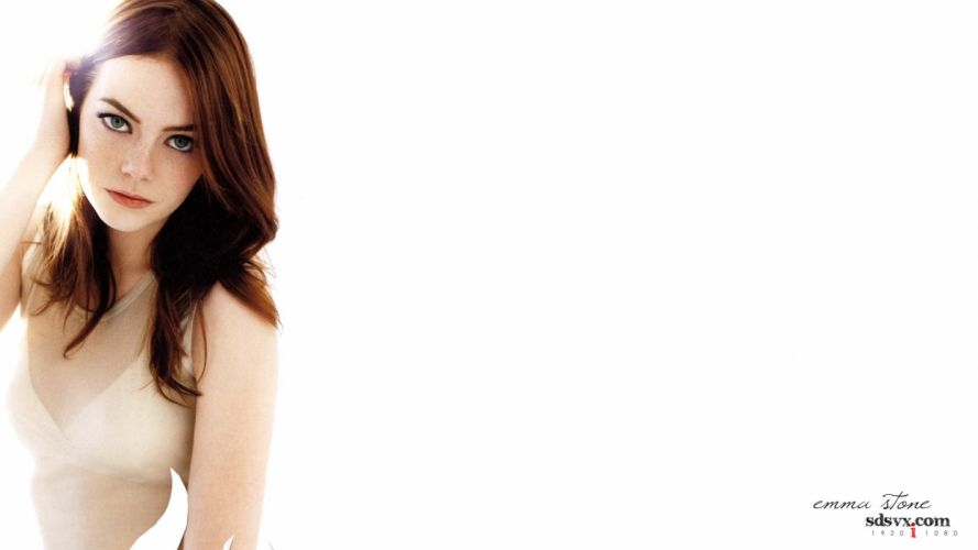 women actress models celebrity Emma Stone simple background faces wallpaper