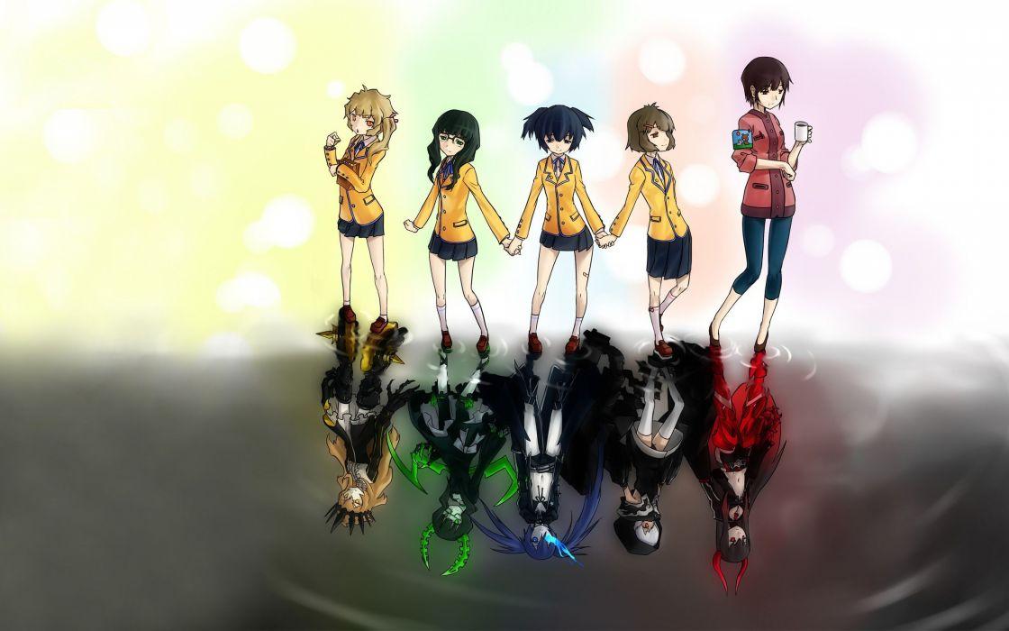 Black Rock Shooter Dead Master anime Takanashi Yomi Kuroi Mato Black Gold Saw Strength Izuriha Kagari Chariot Koutari Yuu Irino Saya wallpaper