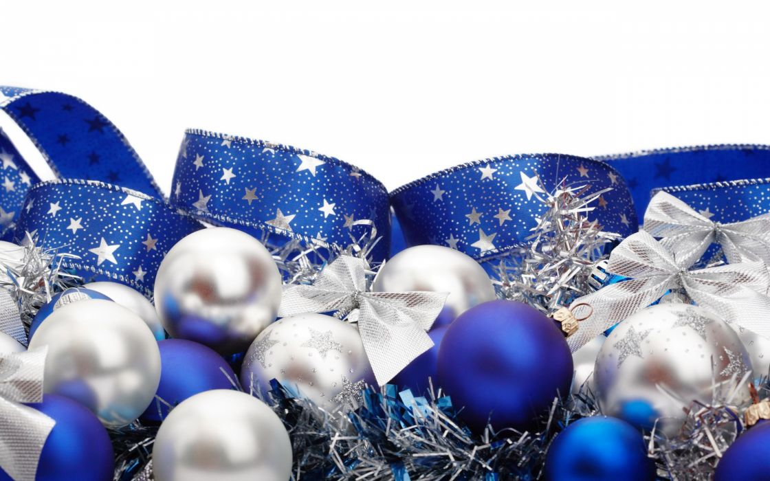 blue white ribbons Christmas ornaments white background Christmas decorations wallpaper