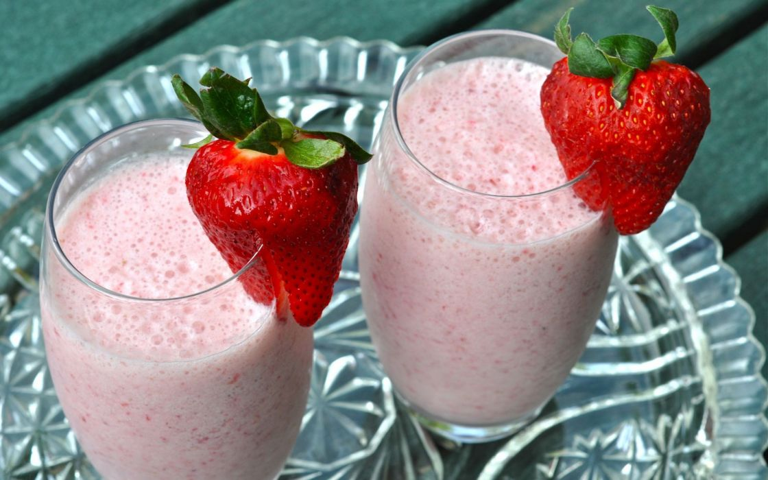 strawberries drinks milkshakes wallpaper