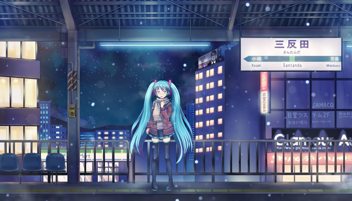 winter snow cityscapes Vocaloid Hatsune Miku thigh highs twintails scarfs anime girls wallpaper