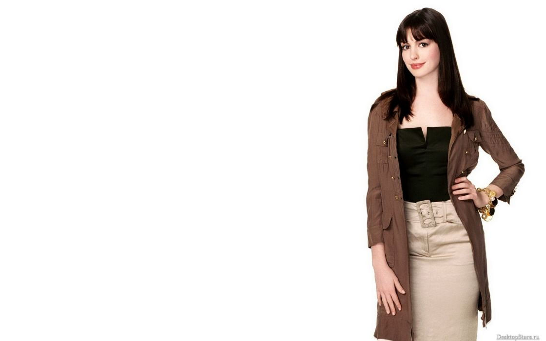 women Anne Hathaway actress simple background white background bangs wallpaper
