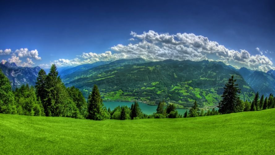 mountains clouds landscapes trees grass towns Lake Lucerne wallpaper