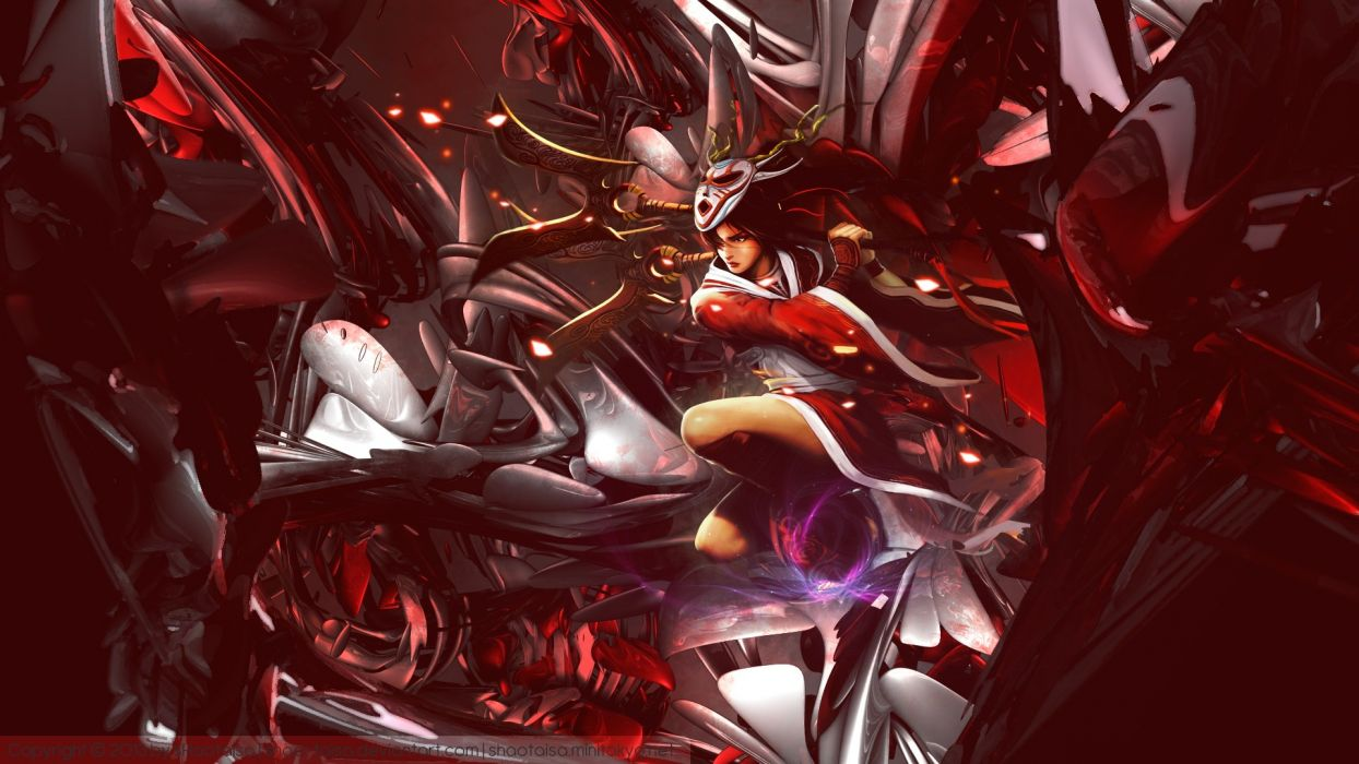 abstract video games blood Moon League of Legends Akali Game characters wallpaper