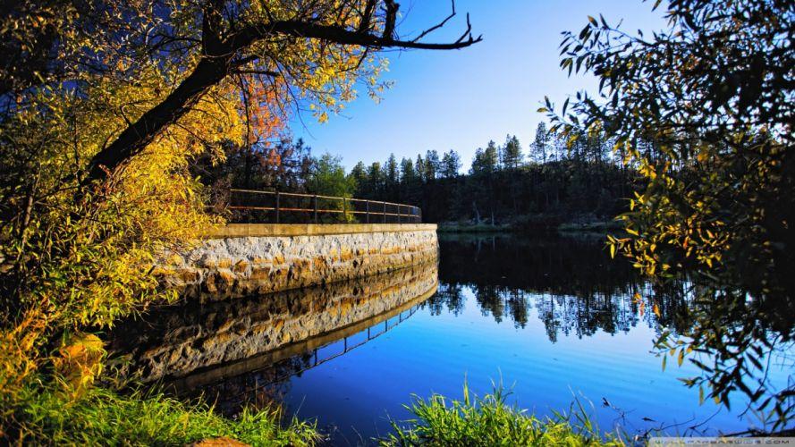 landscapes nature autumn rivers embankment wallpaper