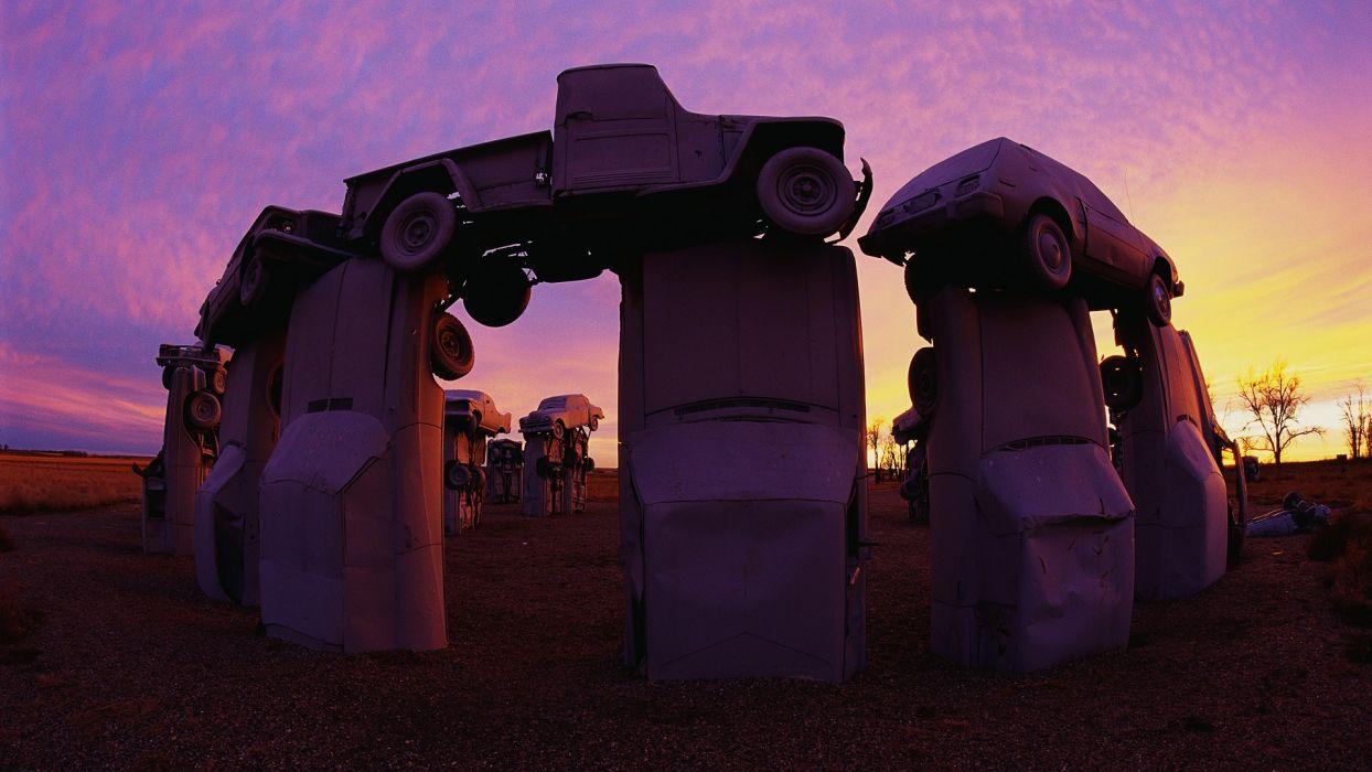 cars Stonehenge western Nebraska wallpaper