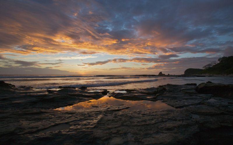sunset ocean landscapes nature coast Sun Nicaragua land Southern sea beaches wallpaper