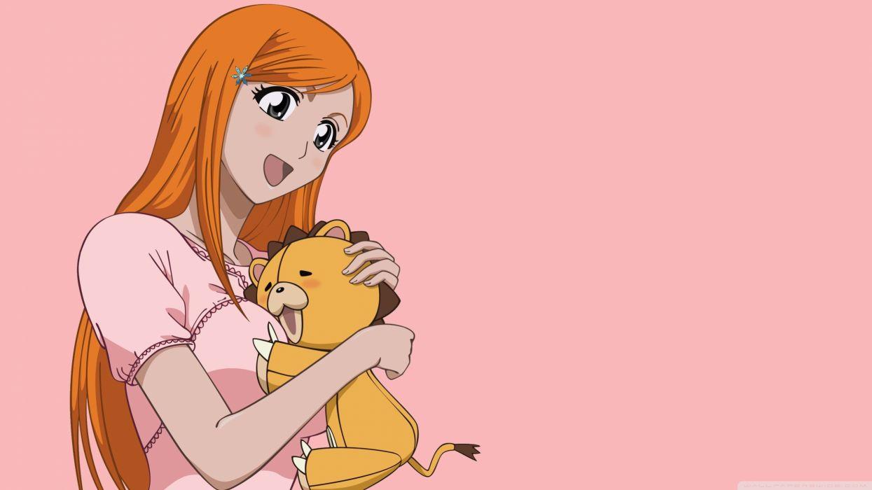 Bleach Kon Inoue Orihime stuffed animals orange hair simple background pink background wallpaper