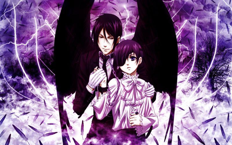 brunettes wings eyepatch feathers Kuroshitsuji Ciel Phantomhive Sebastian Michaelis collar anime anime boys chains lightning wallpaper