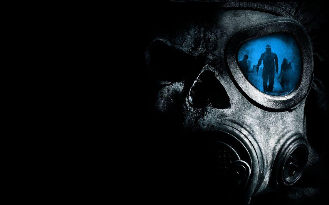 horror skulls gas masks reflections wallpaper
