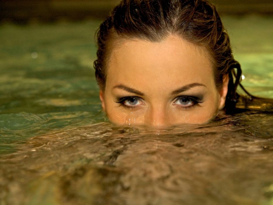 women water eyes models Jordan Carver swimming pools wallpaper