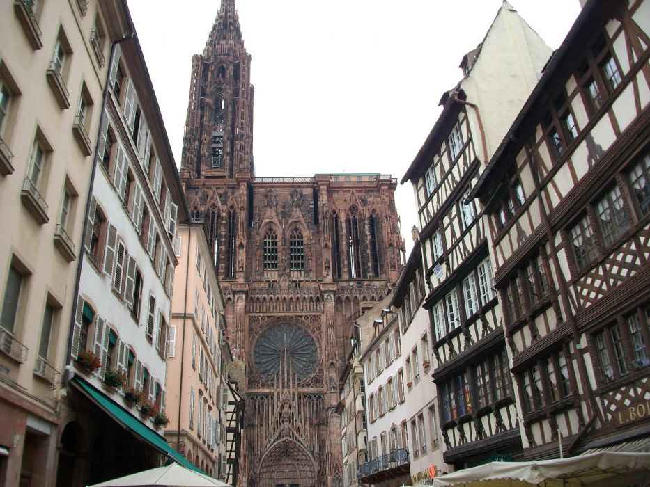 France cathedrals Strasbourg Old City medieval buildings wallpaper