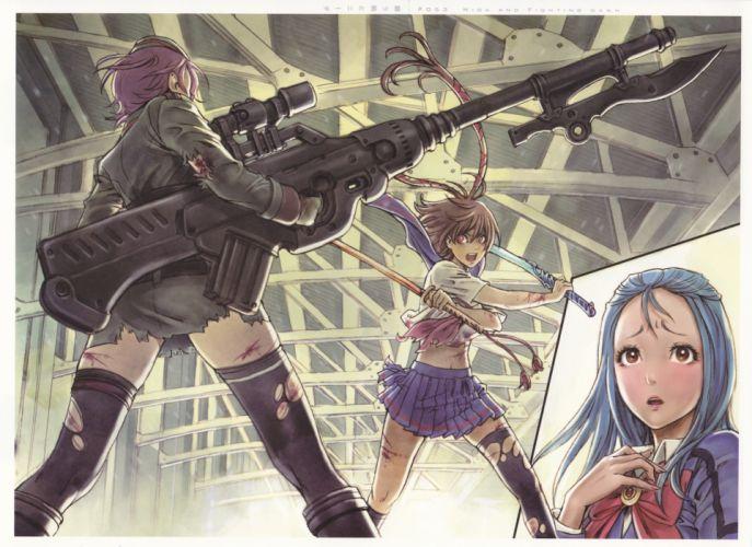 school uniforms weapons Yamashita Shunya thigh highs Mishiro Akatsuki Shuraki Trinity Kazusa Youko Nida Schuetlitch wallpaper
