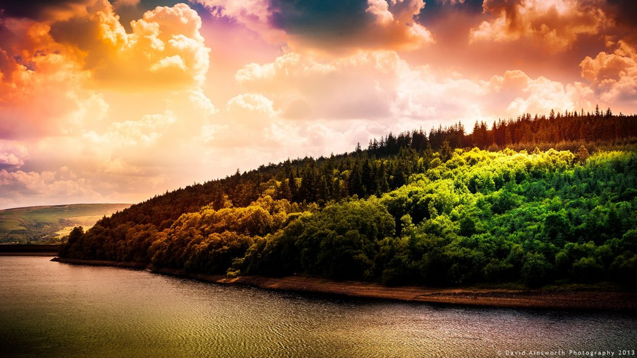 water sunset clouds landscapes forests reservoir lakes wallpaper