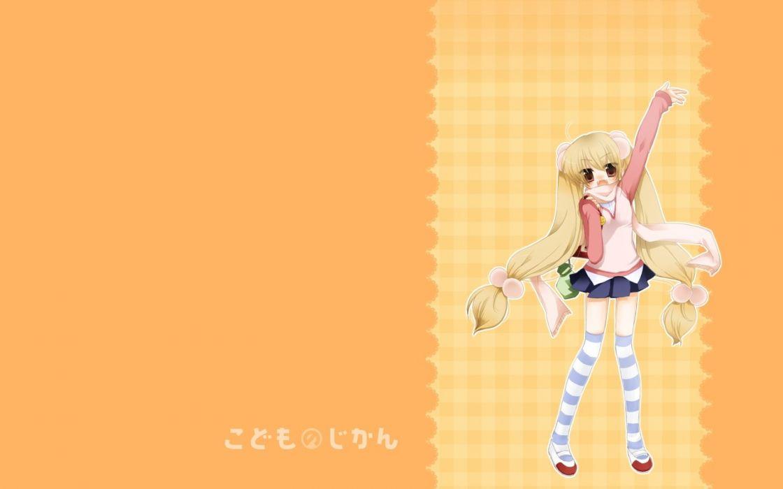 Kodomo no Jikan twintails simple background Kokonoe Rin striped legwear wallpaper