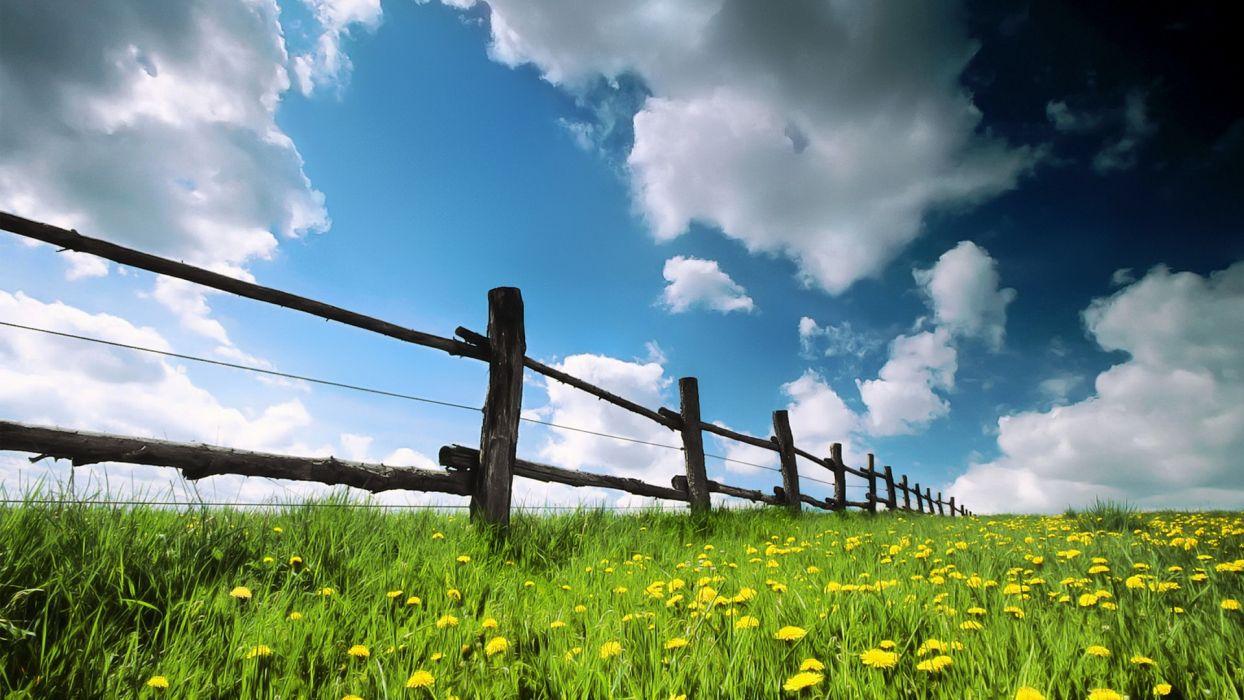 landscapes nature fences land wallpaper