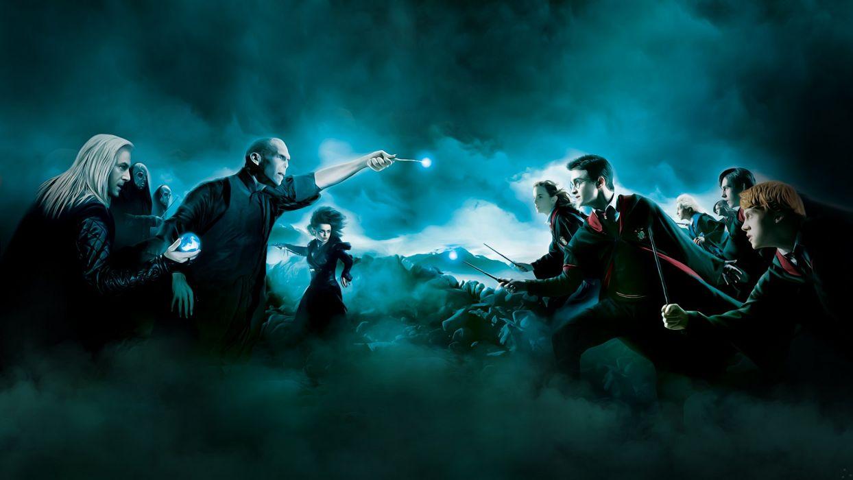 Harry Potter artwork Luna Lovegood Hermione Granger Voldemort Ginny Weasley Ron Weasley Neville Longbottom Lucius Malfoy Bellatrix Lestrange Death Eaters wallpaper