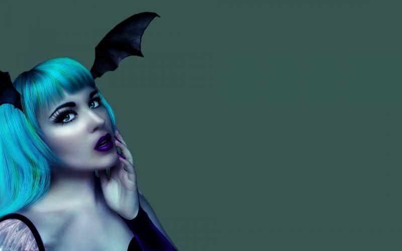 women blue eyes Halloween blue hair wallpaper