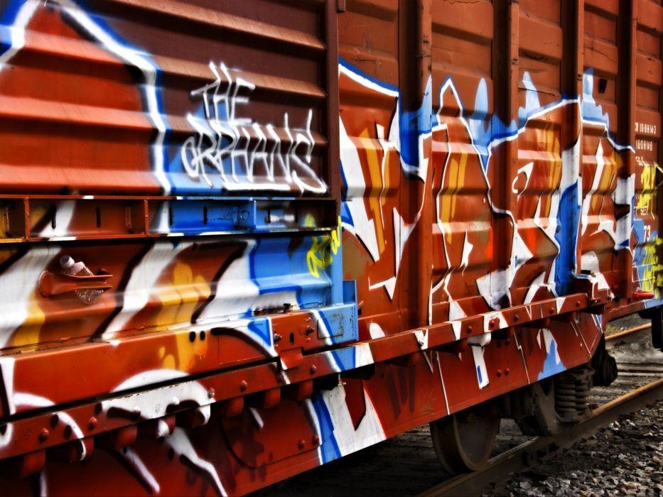 trains graffiti railroad tracks wallpaper