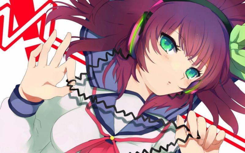 headphones Angel Beats! green eyes anime Nakamura Yuri anime girls wallpaper