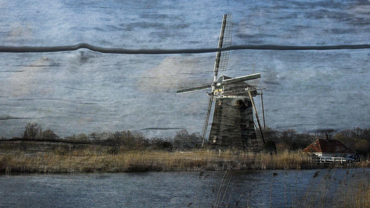 landscapes textures digital art windmills mills wallpaper