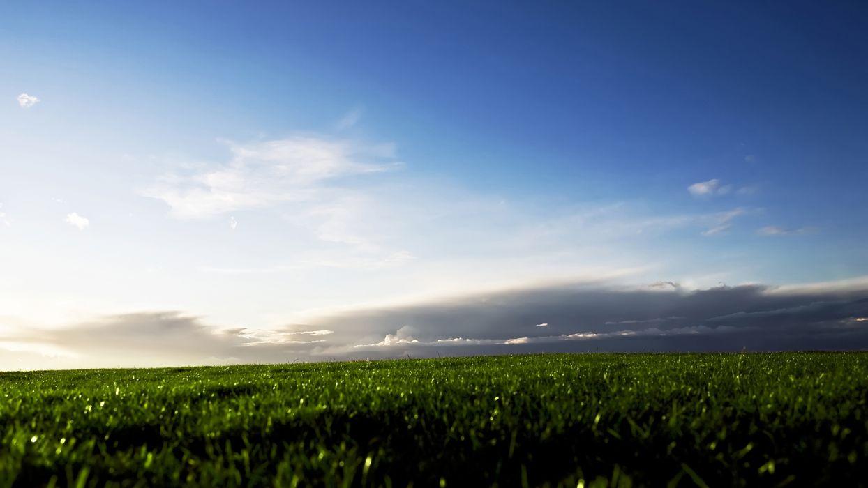 clouds landscapes grass fields wallpaper