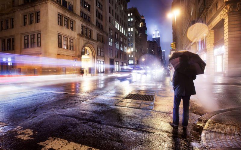 cityscapes lights umbrellas wallpaper