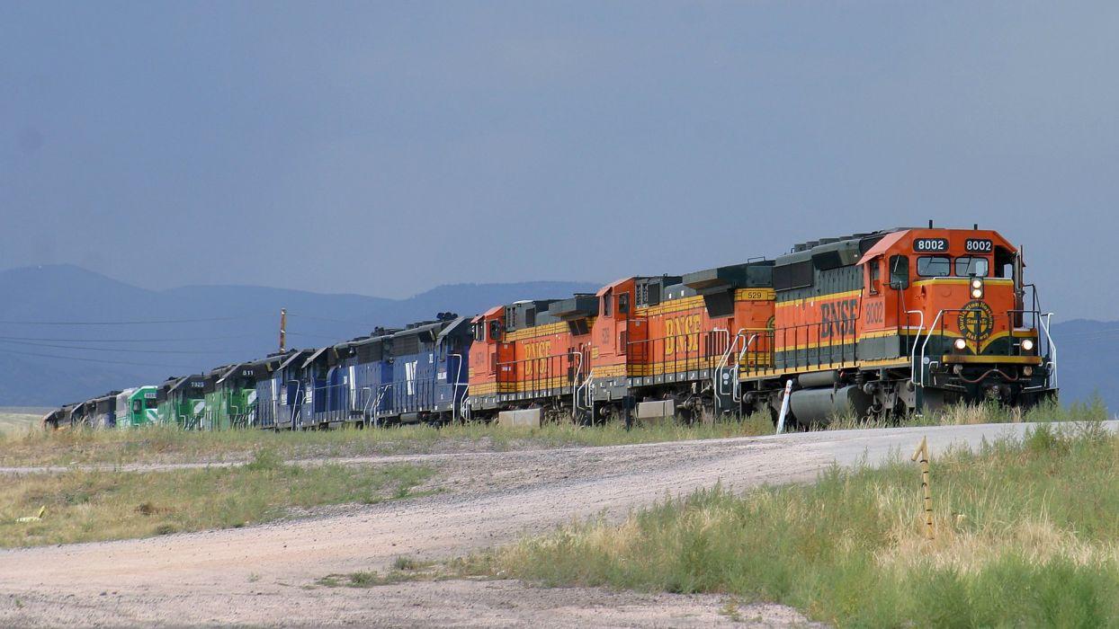 trains locomotives BNSF widescreen wallpaper