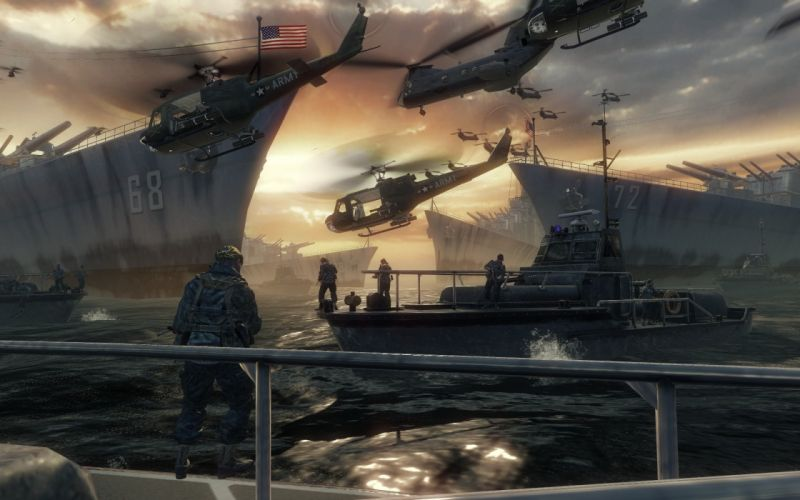 water soldiers video games ocean Call of Duty Xbox ships weapons boats US Army Playstation 3 wallpaper