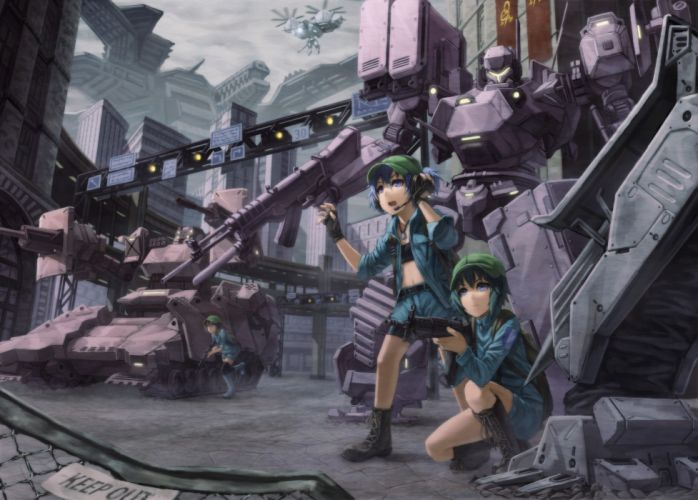 headphones brunettes boots video games Touhou guns streets gloves robots fences blue eyes mecha belts Armored Core outdoors weapons buildings blue hair short hair skyscrapers green hair twintails navel open mouth shorts crossovers blue dress kneeling Kawa wallpaper