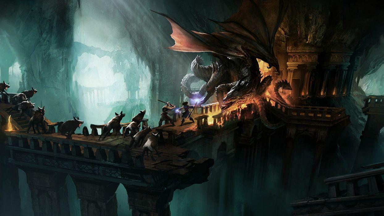 mage video games wings caves ruins dragons dogs bridges fantasy art artwork warriors Drakensang Online wallpaper