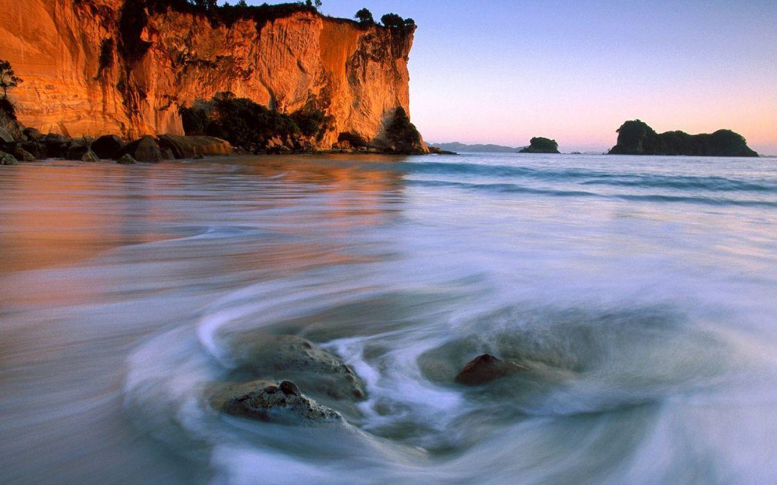 landscapes nature north New Zealand stingray bay wallpaper