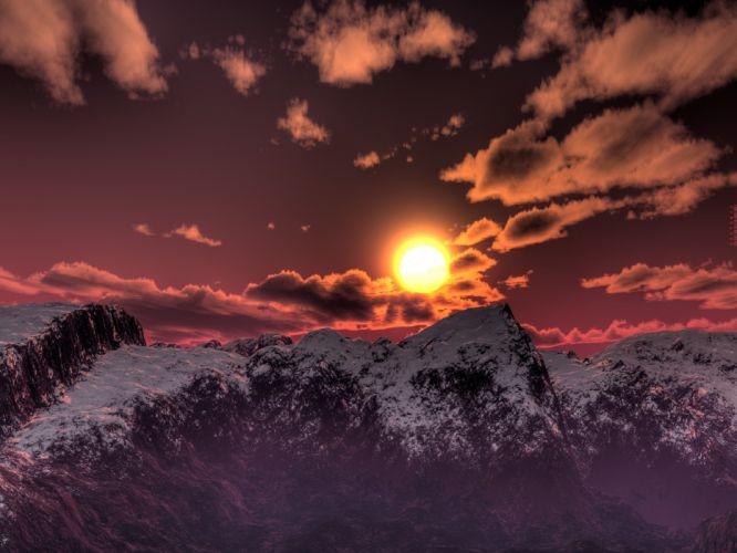 3D view landscapes digital wallpaper