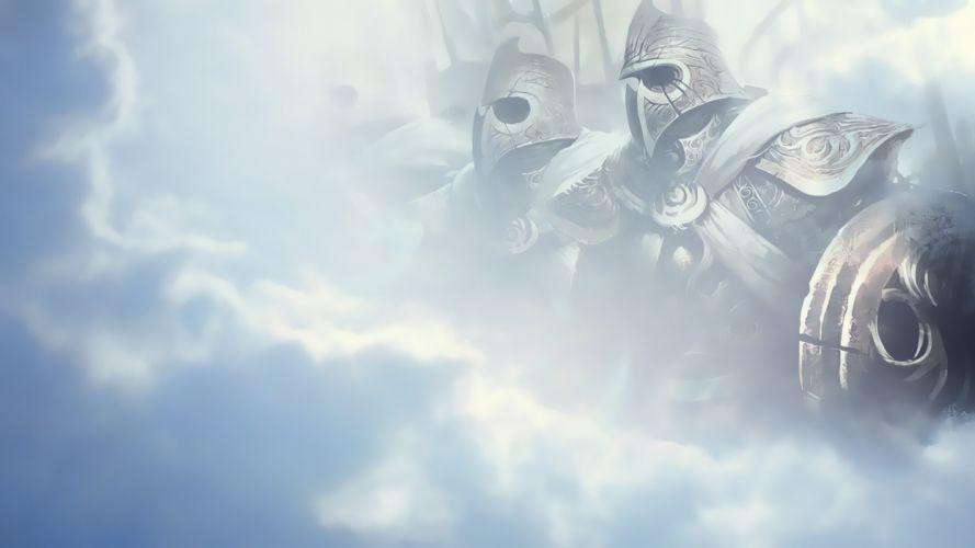 video games blue clouds Guild Wars 2 soft light wallpaper
