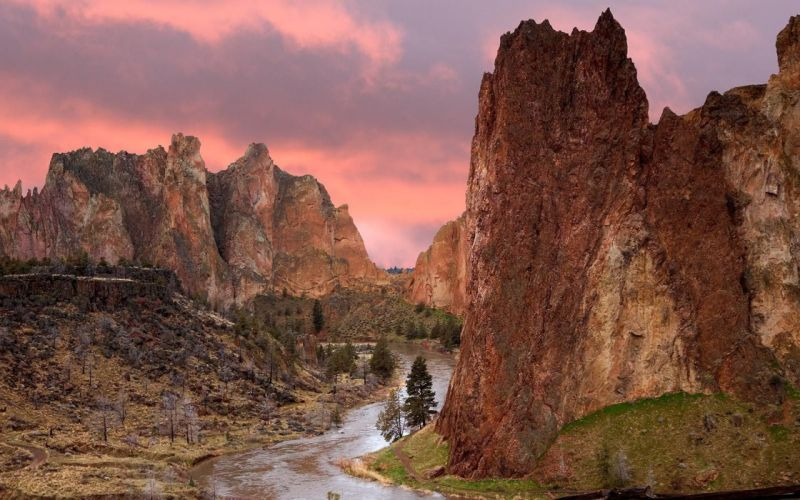 sunrise landscapes nature rocks Oregon parks Smith wallpaper