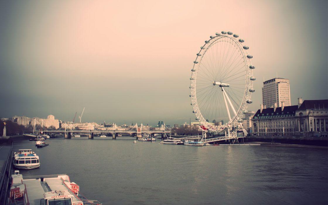 London bridges London Eye boats ferris wheels vehicles rivers River Thames wallpaper