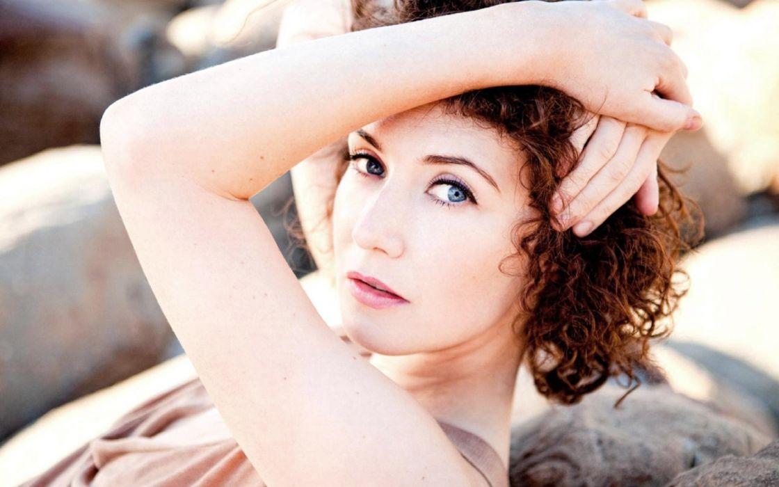 women blue eyes actress redheads curly hair faces Carice van Houten wallpaper