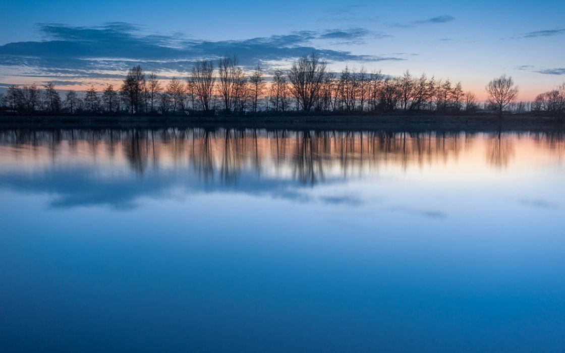 landscapes trees reflections blue skies wallpaper