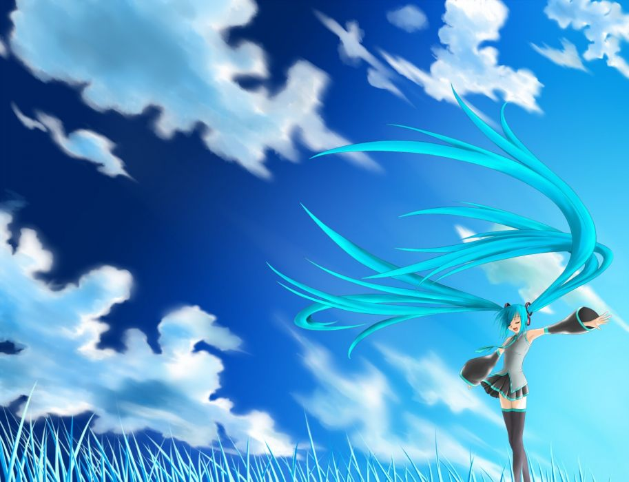 Vocaloid Hatsune Miku skyscapes detached sleeves wallpaper