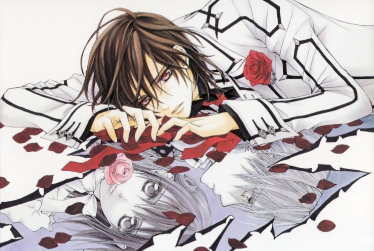 Vampire Knight lying down anime anime boys flower petals roses Yuki Cross Kuran Kaname wallpaper