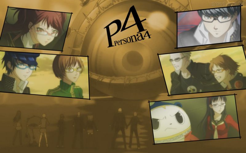 Persona series Persona 4 Hanamura Yosuke Narukami Yuu Satonaka Chie Shirogane Naoto Amagi Yukiko Kujikawa Rise Tatsumi Kanji Kuma (Persona 4) wallpaper