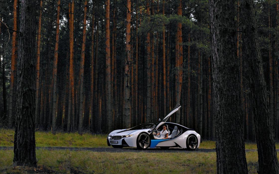trees cars BMW Vision EfficientDynamics wallpaper
