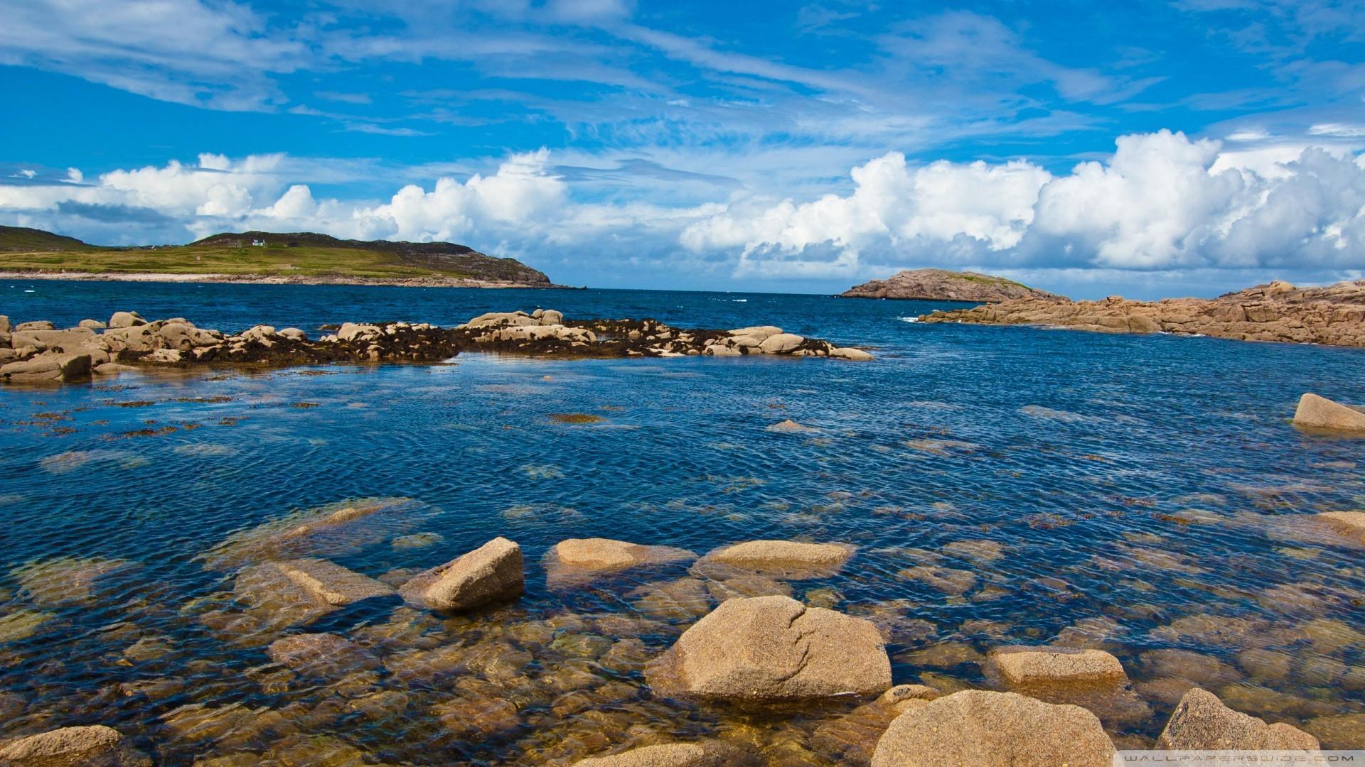 Ocean landscapes nature coast hills rocks sea wallpaper