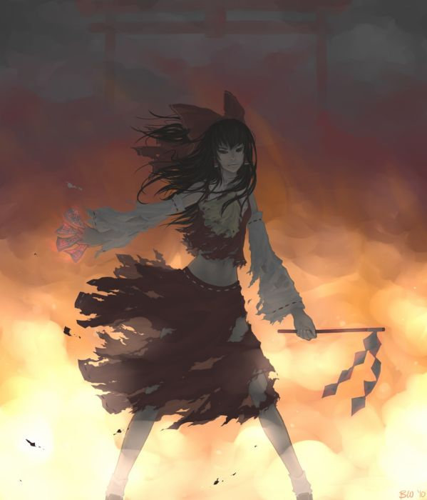 video games Touhou fire skirts long hair outdoors brown eyes Miko glowing Hakurei Reimu bows red dress navel torii soft shading torn clothing Japanese clothes anime girls gohei detached sleeves ofuda hair ornaments bangs black hair burning bare shoulders wallpaper