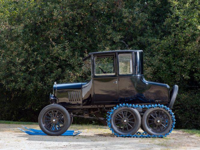 1925 Ford Model-T Snow Flyer Coupe retro winter wheel g wallpaper