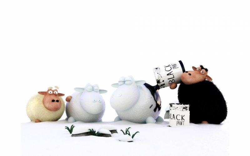 3D view black white animals funny sheep digital art wallpaper