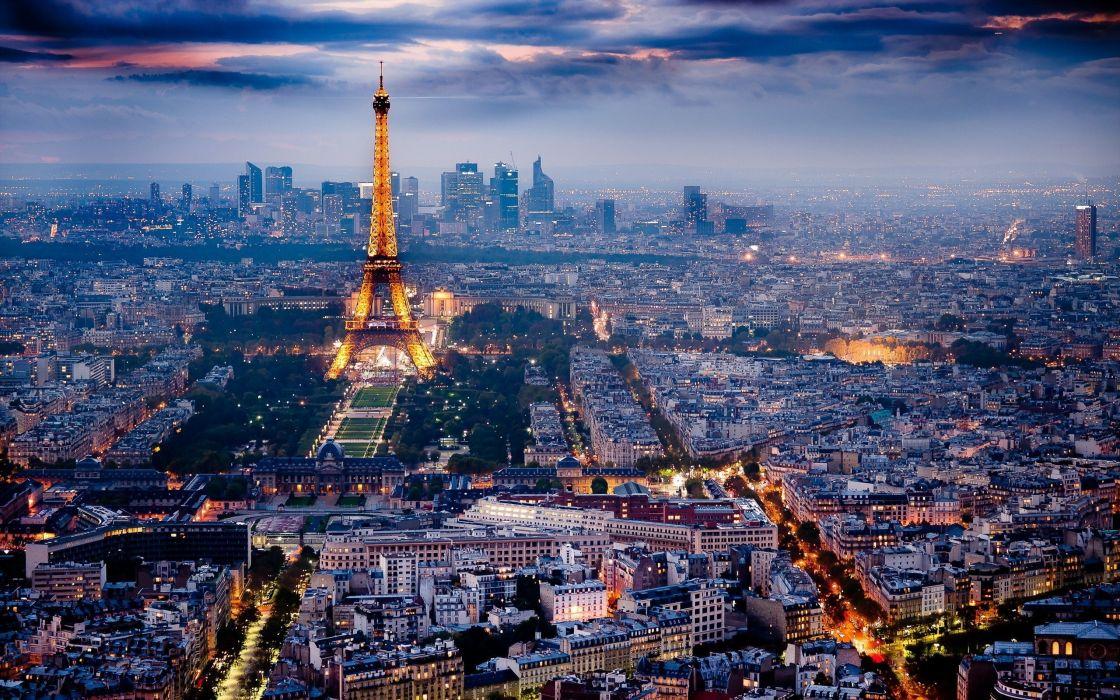 Eiffel Tower Paris city lights city skyline wallpaper