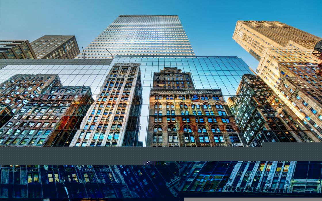 cityscapes buildings skyscrapers HDR photography reflections low-angle shot Trey Ratcliff blue skies wallpaper